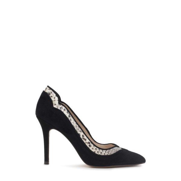 черные замшевые туфли со змеиной вставкой